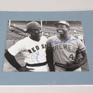 Hall of Famers Jim Rice & Hank Aaron Signed 8x10 July 29 1975 News Photo