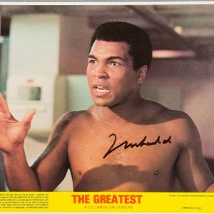 "Muhammad Ali Signed ""The Greatest"" Promotional Lobby Card ** COMPLETE SET of (8) Lobby Cards ** 77/89"