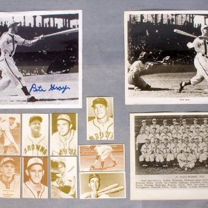 OE St. Louis Browns Collection with Pete Gray Signed Photo and T.C.M.A. Cards etc.