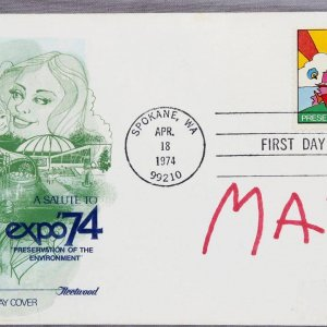 Peter Max Signed First Day Issue Cover Expo 74 Spokane WA. Apr 18 1974