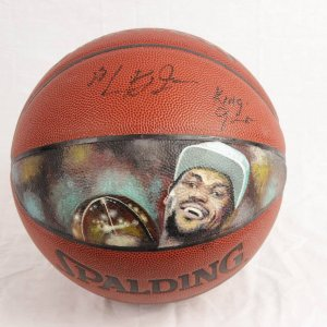 """2002 Pre-Rookie High School LeBron James Signed Basketball w/ Extremely Rare-Impossible """"King James"""" Inscription (w/ Original Hand Painted Portrait of Miami Heat Champion Art Work)"""