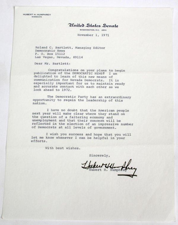 Signed Letter as Senator (TLS)
