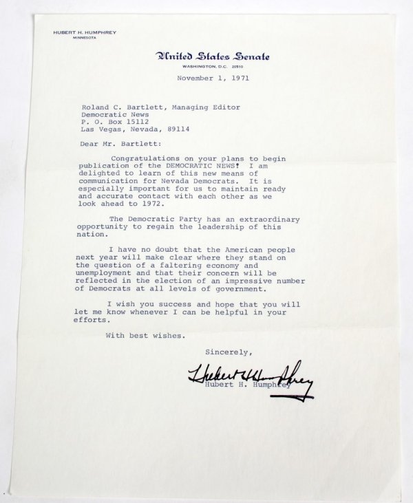 1971 Vice President Hubert Humphrey Typed
