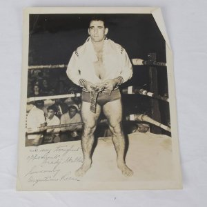 Professional Wrestling Hall of Fame Argentina Antonino Rocca Signed Inscribed (To My Toughest Opponent )B&W Vintage Photo.