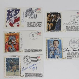 Lot of (5) Football HOFers & Stars Signed First Day Covers (FDC) Cachets Feat. Eric Dickerson, Terry Bradshaw, Lawrence Taylor, Eddie Robinson & Roger Staubach