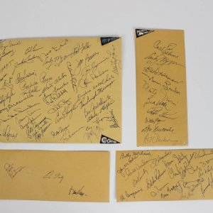 Stunning 75+ Autograph Collection on Envelopes from 1980 Old Timer's Day feat. HOFers Roger Maris, Joe DiMaggio, Joe Cronin, Carl Hubbell, Ernie Banks +Many More
