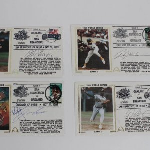 1989 World Series - Oakland A's vs. San Francisco Giants Signed First Day Cover Cachets (FDC) Lot (4) Incl. Mark McGwire & Jose Canseco, Rickey Henderson, Dave Stewart & Mike Moore