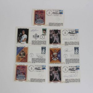 1989 All-Star Game Signed Baseball Stars First Day Covers Cachets (FDC) (7) Lot Incl. (2) Will Clark, (2) Terry Steinbach, Ron Kittle, Bo Jackson & Andre Dawson