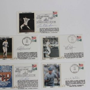 1988 World Series - Los Angeles Dodgers vs. Oakland A's Signed Baseball First Day Covers Cachets (FDC) Lot of (5) Incl. Mickey Hatcher, Mike Scioscia, Mark McGwire et al.