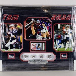 New England Patriots Tom Brady 4x Super Bowl Champion 22x33 Ring Display