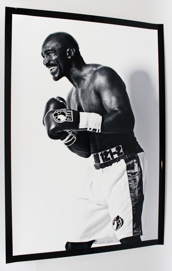 Evander Holyfield & Signed Inscribed Signed 28 1/2 x 41 1/2 Black & White Original Photography