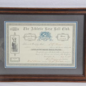 August 9, 1889 The Athletic Base Ball Club (Philadelphia Athletics) Stock Certificate