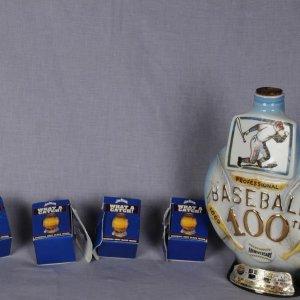 1969 Jim Beam 100th Anniversary Baseball Decanter & 4 Shot Glasses