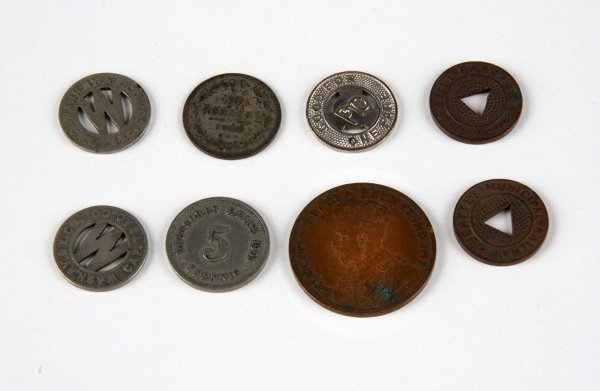 Lot of 8 Vintage Train Fare Tokens & Foreign Coins - Owned by Commodore Oscar Smith