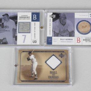 Willie Mays, Chuck Dressen, & Billy Herman Upper Deck Game Used Jersey Cards