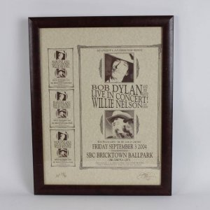 Bob Dylan & Willie Nelson 17x23 Concert Poster AP 29/30 Signed by David Dean 20x26 Display