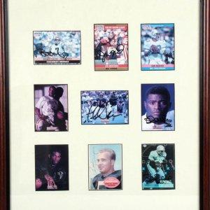 Football Hall of Famers Signed Card Display - 9 Different Autographed Cards Incl. Boomer Esiason, Joe Montana, Dan Marino, Warren Moon, Phil Simms, Lawrence Taylor, Deion Sanders, Paul Hornung & Barry Sanders