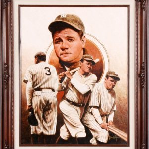 Babe Ruth on Canvas Giclee by Leon Wolf Display