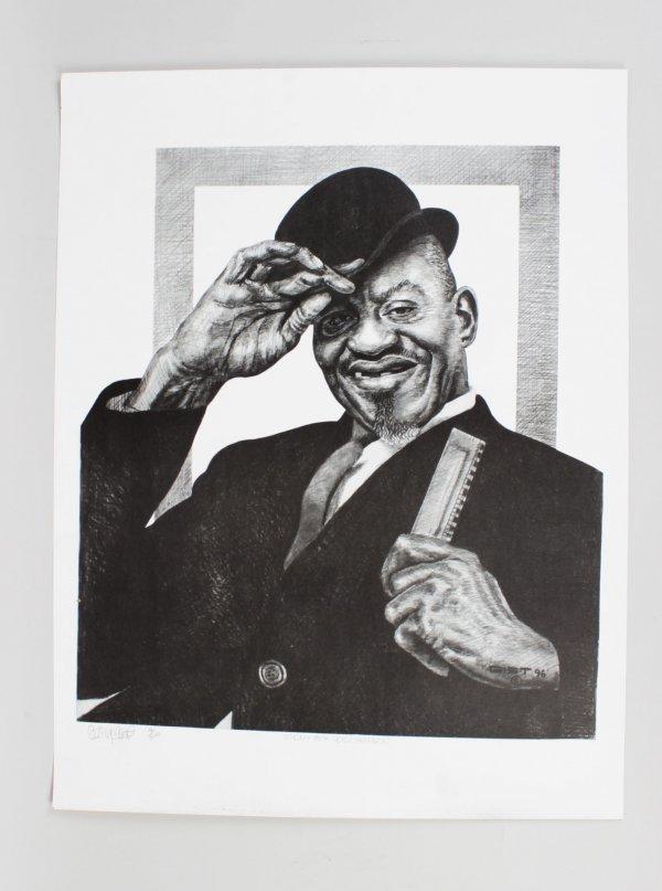 Sonny Boy Williamson Charcoal Artwork by Pittsburgh Artist George Gist From Original Teenie Harris Photo LE 4/500