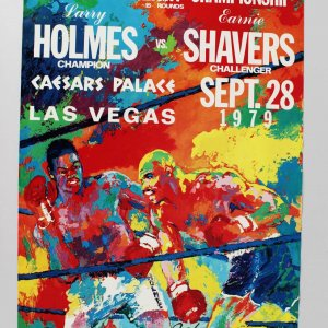 """Signed & Inscribed Leroy Neiman """" Keep Punching Holmes vs Shavers 17 x Poster 28"""