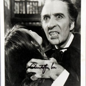Christopher Lee Dracula 8x10 Black and White Autographed Photograph