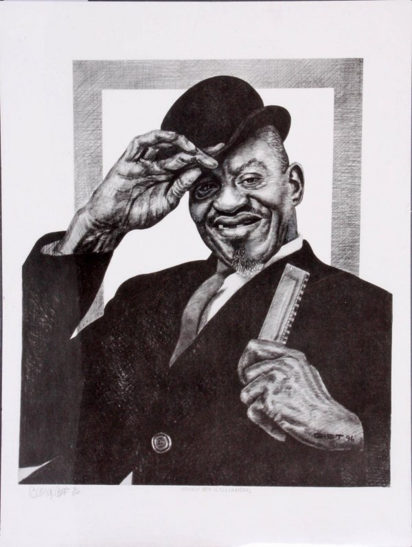 Sonny Boy Williamson Charcoal Artwork by Pittsburgh Artist George Gist From The Original Teenie Harris Photo LE