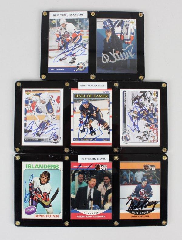 Islanders & Sabres Signed 7 Cards Displays Bossy, Potvin, Gil Perreault