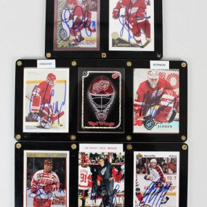Detroit Red Wings Signed 7 Card Displays Yzerman, Fedorov, Osgood