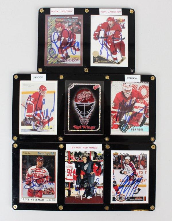 Detroit Red Wings Signed 7 Card Displays Yzerman, Fedorov, Osgood