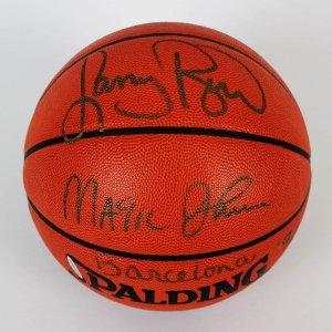 Dream Teams Magic Johnson & Larry Bird Signed Basketball (COA UDA)