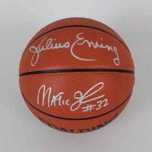 HOF's Magic Johnson & Julius Erving Signed Basketball