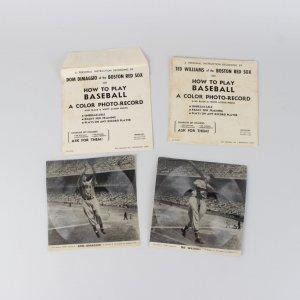 Two 1948 Ted Williams & Dom Dimaggio Boston Red Sox Baseball Photo Record