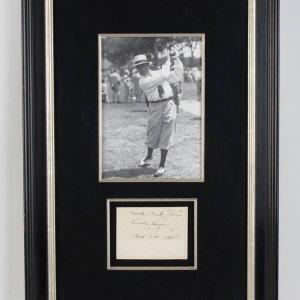 """""""Good luck Jim Walter Hagen Nov 2nd 1931"""" Signed Cut Display COA JSA"""