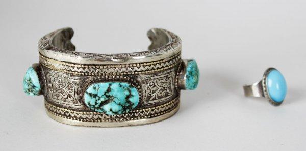 Jimi Hendrix Worn Turquoise Indian Silver Bangle Bracelet & Pinkie Ring (Hendix's Roadie, Tappy Wright LOA)