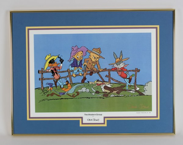 1989 The Western Group Litho Signed by Chuck Jones Bugs Bunny, Daffy Duck