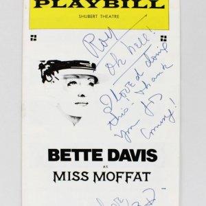 Bette Davis Signed & Inscribed Miss Moffat Play Billy