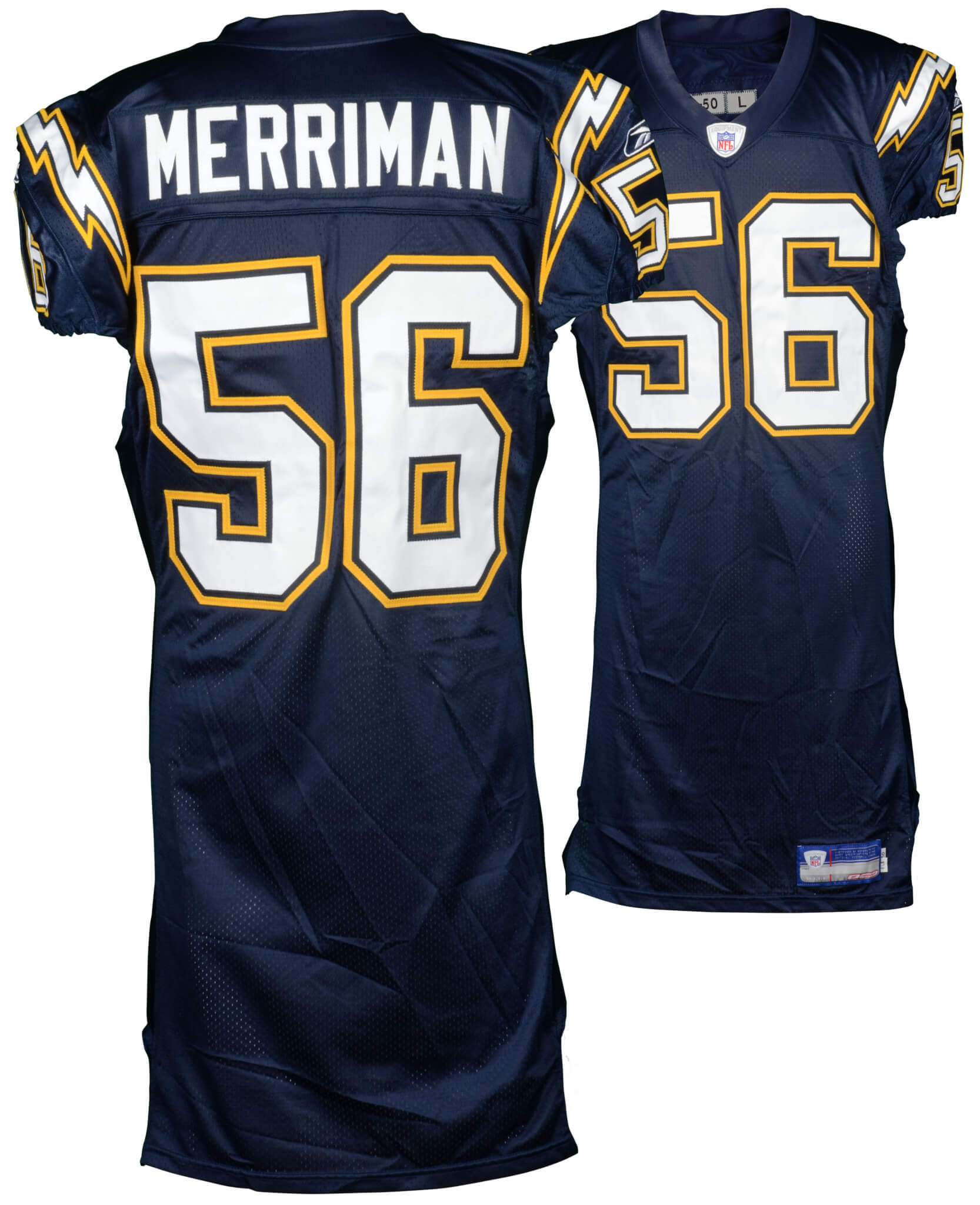 2005 Chargers Shawne Merriman Game-Used Blue #56 Jersey COA Team Letter-100% Team