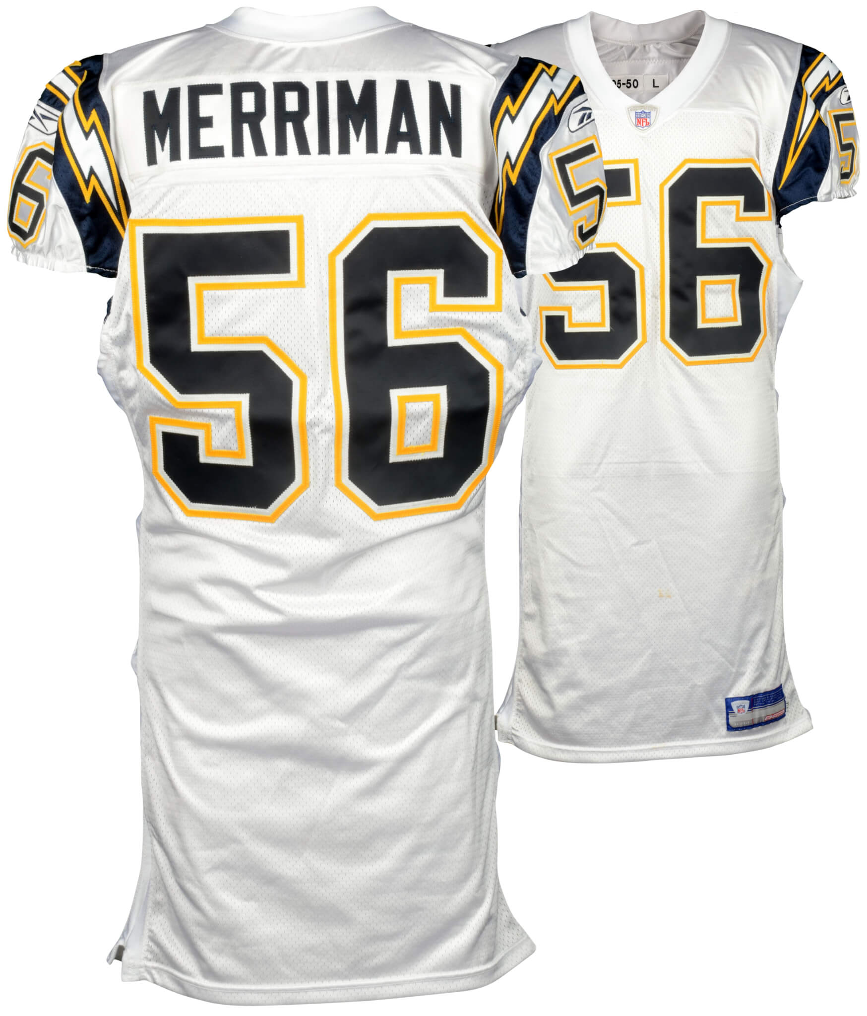 Shawne Merriman San Diego Chargers Game-Used White #56 Jersey from 2005 Season