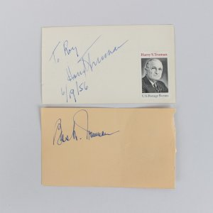6/19/56 President Harry Truman & First Lady Bess Truman Signed 3x5 Cuts
