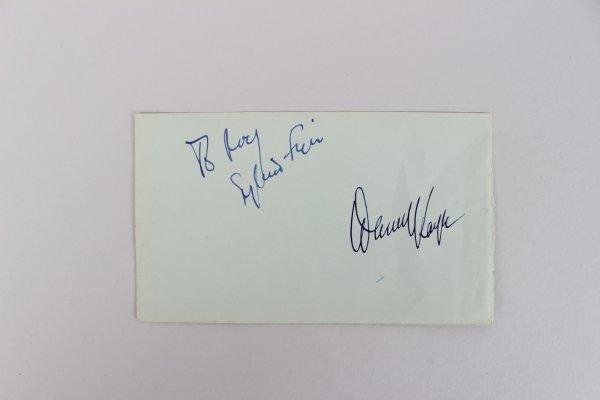 Gore Vidal & Danny Kaye Signed 3x5 Cut
