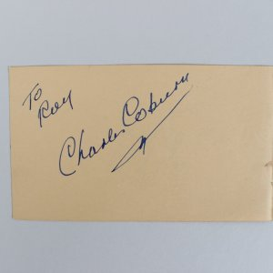 Actor/Actress Charles Coburn & Shirley Jones Signed 3x5 Cut