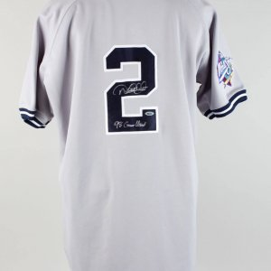 "1998 New York Yankees - Derek Jeter Signed Twice & Inscribed ""'98 Game-Used"" Worn World Series Jersey (JSA Full LOA, Steiner Holograms & Provenance LOA)"