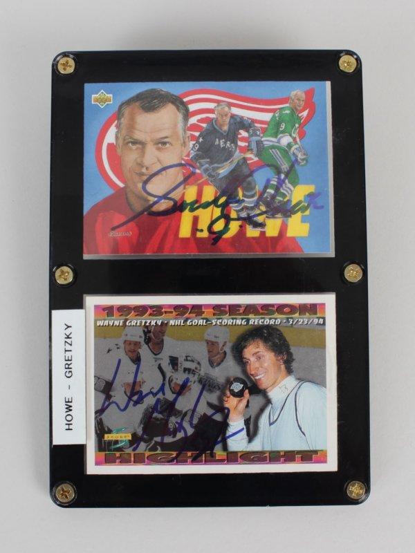 Wayne Gretzky & Gordie Howe Signed Cards Display