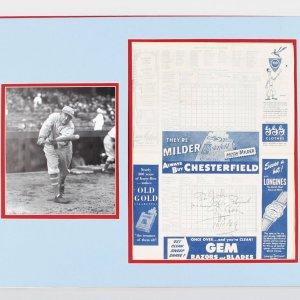 Rare 1949 New York Yankees vs. Boston Red Sox Scorecard Signed, Dated by Ty Cobb Display (JSA Full LOA)