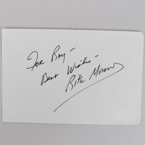 Rita Moreno Signed 4x6 Cut (JSA)