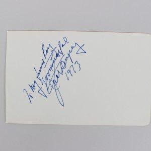Jack Dempsey Signed & Inscribed 4x6 Cut (JSA)