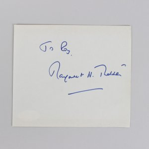 British Prime Minister Margaret Thatcher Signed 4x5 Cut (JSA)