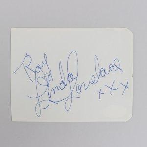 XXX Linda Lovelace Signed 3x5 Cut (JSA)