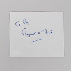 British Prime Minister Margaret Thatcher Signed 4×5 Cut (JSA)