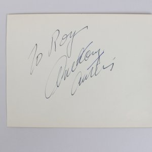 Actor Anthony Curtis Signed 5x6 Cut (JSA)